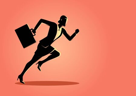 Business concept vector illustration of a businesswoman running with briefcase, business, energetic, dynamic concept Illustration