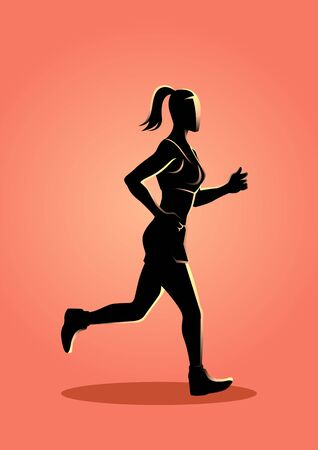 Vector illustration of a female figure jogging Illustration