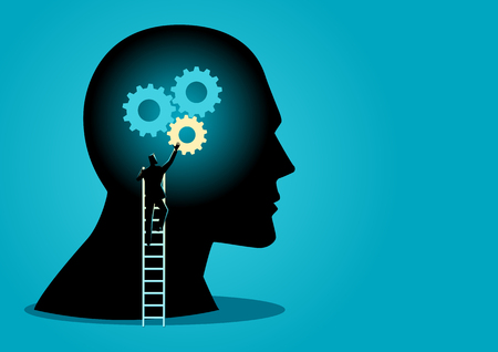 Business concept vector illustration of a man on ladder installing gears on human head, thinking process concept