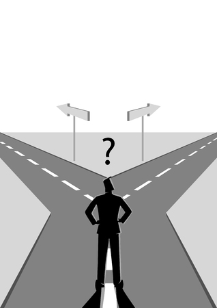 Business concept vector illustration of a businessman choosing which path he should go