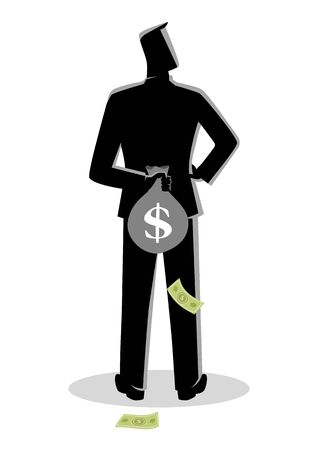 Business concept vector illustration of a man hiding a money bag behind his back for tax evasion concept