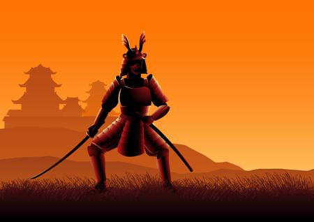 Silhouette vector illustration of a Samurai on grassland