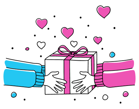 Line art illustration of human hands giving gift box, for Valentines day theme and background