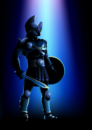 A Vector illustration of a gladiator standing with sword and shield under blue light