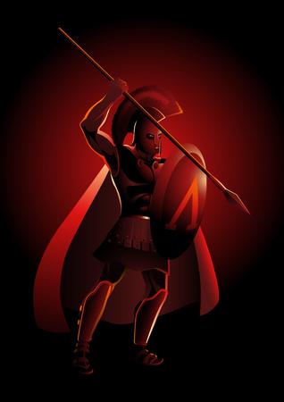 Vector illustration of an ancient Greek warrior, Spartan hoplite Çizim