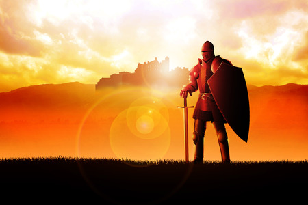 A knight standing on grass field on dramatic scenery