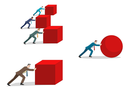 Business concept cartoon illustration of a businessman pushing a sphere leading the race against a group of slower businessmen pushing boxes. Winning strategy, efficiency, innovation in business concept Vettoriali