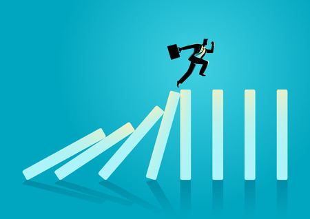 Business concept vector illustration of a businessman running on top of domino effect