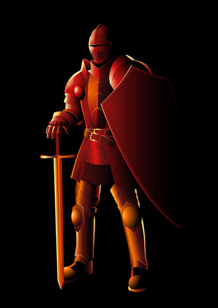 Vector illustration of a medieval knight in armor with sword and shield, preparation, protection, precaution concept Illustration
