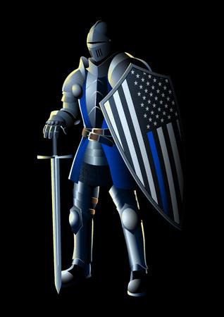Illustrazione vettoriale di un cavaliere con bandiera USA linea sottile blu. La sottile linea blu è una frase e un simbolo usato dalle forze dell'ordine, per simboleggiare la solidarietà e come protettori della comunità.