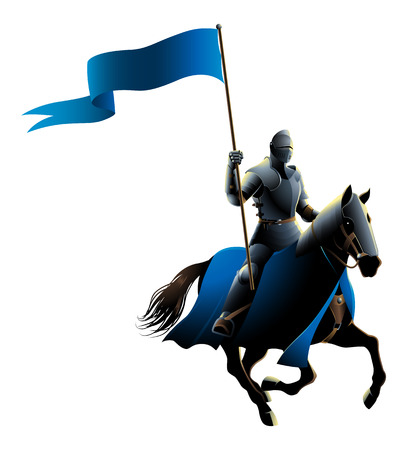 Vector illustration of a midde ages knight on horse carrying a flag Standard-Bild - 95764216
