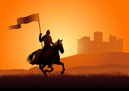 Vector silhouette of a medieval knight on horse carrying a flag on dramatic scene