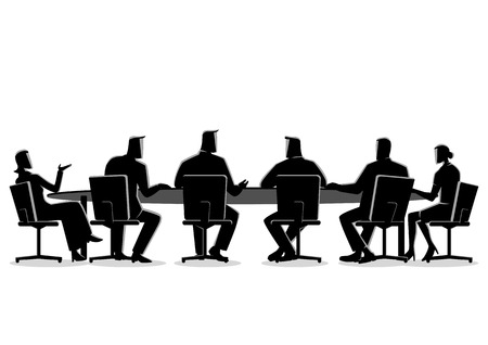 Business concept illustration of a business people having a meeting Vectores