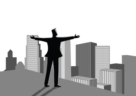 Business concept illustration of  businessman standing on the rooftop of a high building opening his arms widely. Concept for success, motivation in business