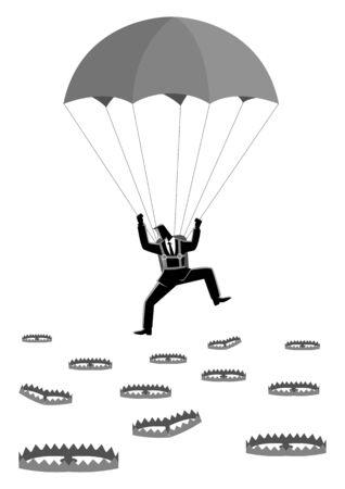 Bedrijfsconceptenillustratie van een zakenman met valscherm die in grondhoogtepunt vallen met beervallen