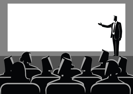 Business concept illustration of businessman giving a presentation on big screen. Audience, seminar, conference theme Illustration