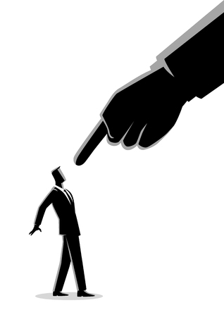 Business concept illustration of a businessman being pointed by giant finger