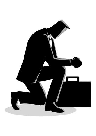 Illustratie van zakenman bidden geïsoleerd op wit Stock Illustratie