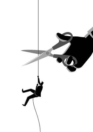 Business concept illustration of a businessman climbing on rope meanwhile a giant hand with scissors intended to cut the rope