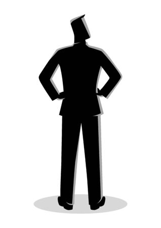 Business illustration from back view of a male figure in formal suit standing with his hands akimbo