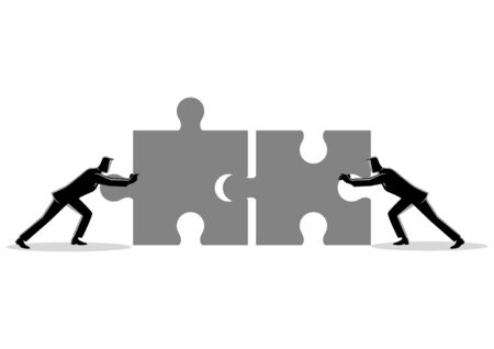 Business concept illustration of two businessmen pushing two jigsaw pieces