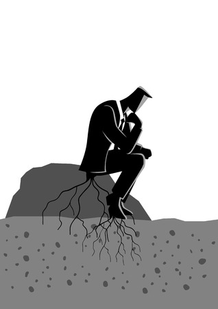 Business concept illustration of a pensive businessman sitting on a rock and rooted to the ground. Too much thinking, laziness concept