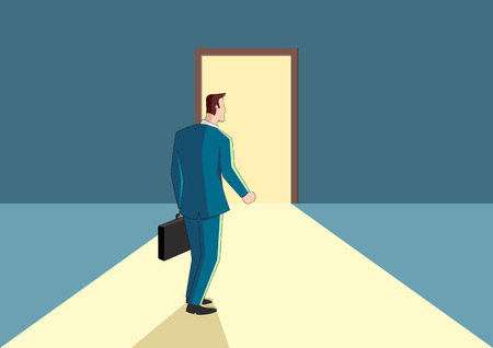 Business concept cartoon of a businessman walking towards a bright door