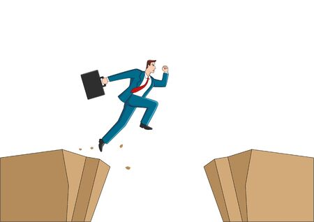 Cartoon illustration of a businessman jumps over the ravine. Challenge, obstacle, optimism, determination in business concept