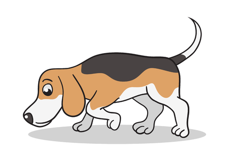 Vector cartoon illustration of a beagle dog sniffing Ilustração