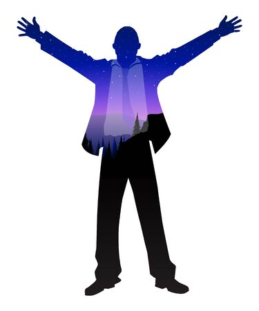 Vector illustration of a businessman standing with open arms with double exposure mountain hills landscape. Success, determination, freedom concept 일러스트