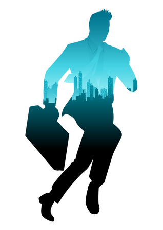 Silhouette vector illustration of a running businessman with double exposure cityscape decoration