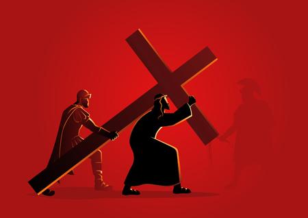 Serie biblica di illustrazione vettoriale. Via Crucis o Stazioni della Croce.