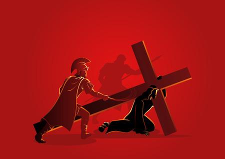 Serie biblica di illustrazione vettoriale. Via Crucis o Stazioni della Croce. Vettoriali