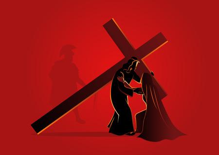 Biblijna seria ilustracji wektorowych. Droga krzyżowa lub stacje krzyżowe.