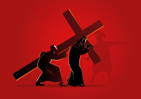 Biblische vektorabbildung-Serie. Kreuzweg oder Kreuzweg.