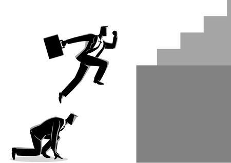 Business concept vector illustration of a businessman using his friend as a stepping stone to jump higher