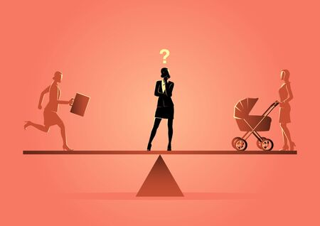 Business concept illustration of a business woman standing on a scale, choosing career or family