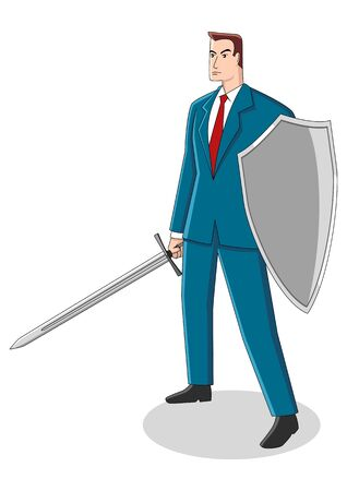 Business concept cartoon illustration of a businessman holding a sword and shield, preparation, protection, precaution in business concept
