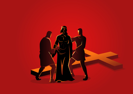 Biblical vector illustration series. Way of the Cross or Stations of the Cross, tenth station, Jesus is Stripped of His Garments.