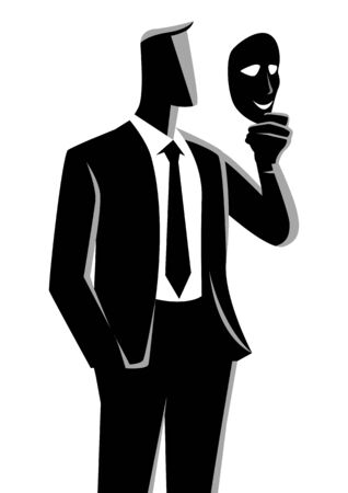 Business concept illustration of a businessman holding a mask in front of his face