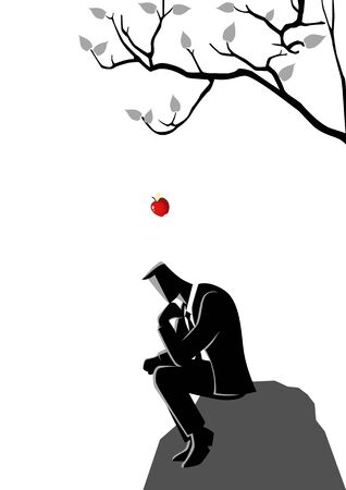 Illustration of an apple falling down on a man sitting under a tree
