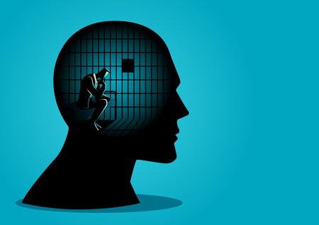 Business concept vector illustration of a businessman in human head being in jail, struggle, lack of creativity, restrictions on the freedom of thought concept. Vettoriali
