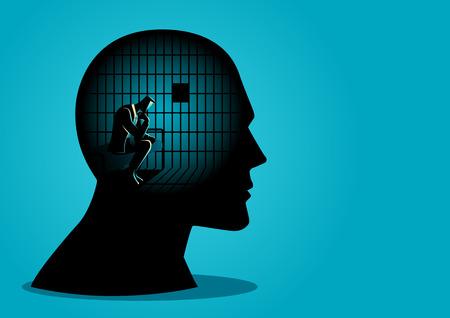 Geschäftskonzept-Vektorillustration eines Geschäftsmannes im menschlichen Kopf, der im Gefängnis, im Kampf, im Mangel an Kreativität, in den Beschränkungen des Gedankenfreiheitskonzepts ist.