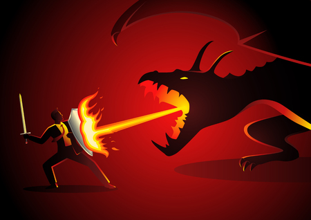 Business concept vector illustration of a businessman fighting a dragon. Risk, courage, leadership in business concept Stock Illustratie