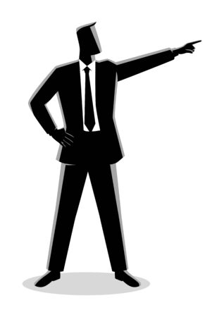 Business concept illustration of a businessman pointing finger
