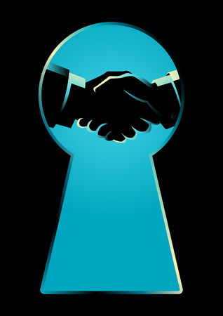 Business concept illustration of two businessmen shaking hands seen through a keyhole, business idiom for backroom deal.