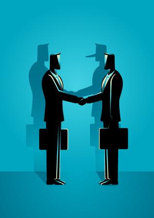 Ilustración de vector de concepto de negocio de dos hombres de negocios dando apretón de manos. Fraude empresarial, fraude financiero y concepto de acuerdo hipócrita.