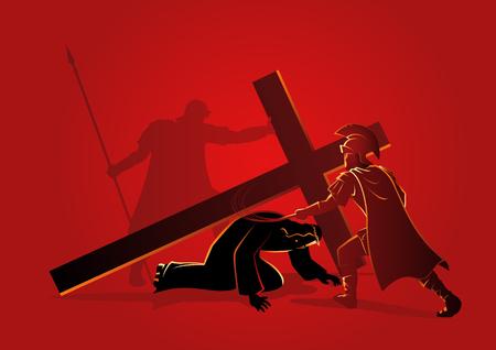 Serie biblica di illustrazione vettoriale. Via Crucis o Stazioni della Croce, nona stazione, Gesù cade per la terza volta. Vettoriali
