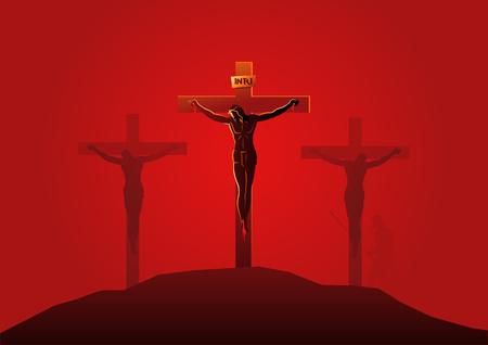 Serie biblica di illustrazione vettoriale. Via Crucis o Stazioni della Croce, dodicesima stazione, Gesù muore sulla croce.