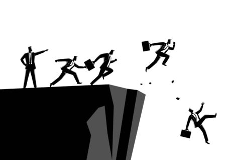 Business concept illustration of a leader pointing to the wrong way to his subordinates. Bad leadership concept 向量圖像